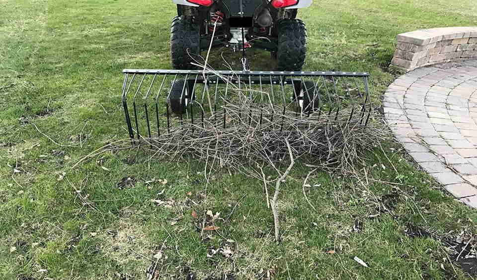 lawn rake for ride on mower