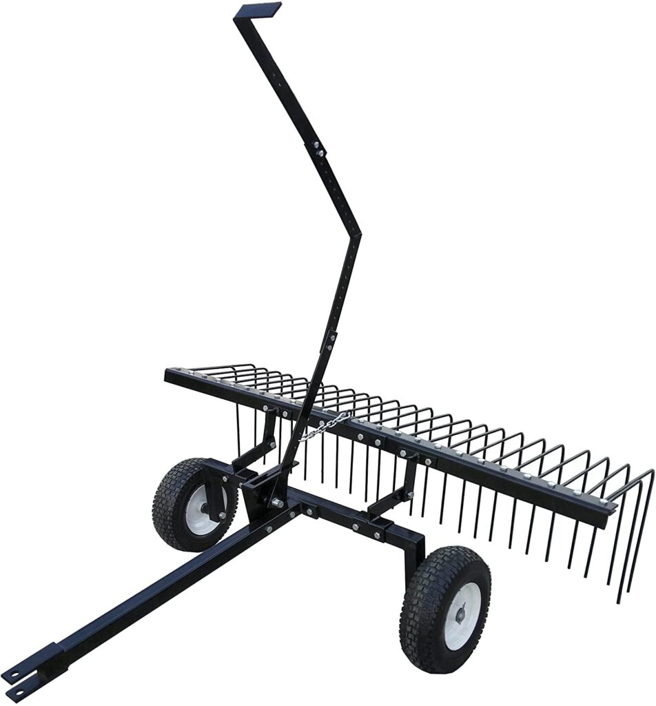 tow-behind rake attachment for a lawn tractor