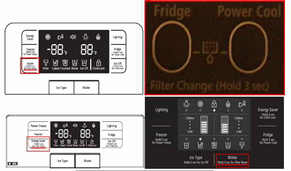 How to reset the filter light on a Samsung refrigerator